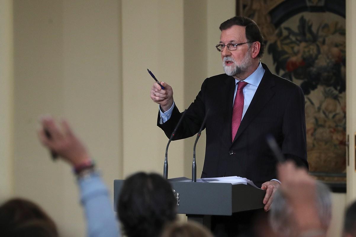 Mariano Rajoy Espainiako presidentea, Ministroen Kontseiluaren ondorengo agerraldian, atzo, Madrilen. ©BALLESTEROS / EFE