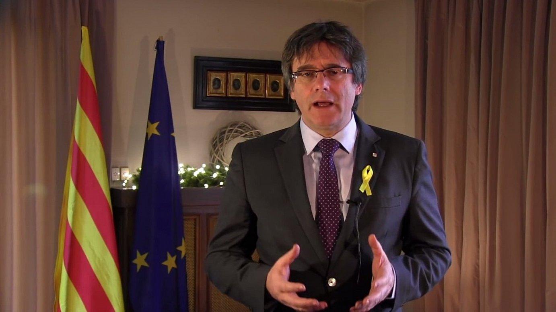 Carles Puigdemontek Kataluniako presidente gisa atzo Bruselatik egin zuen urte bukaerako mezu instituzionalaren irudi bat. ©BERRIA
