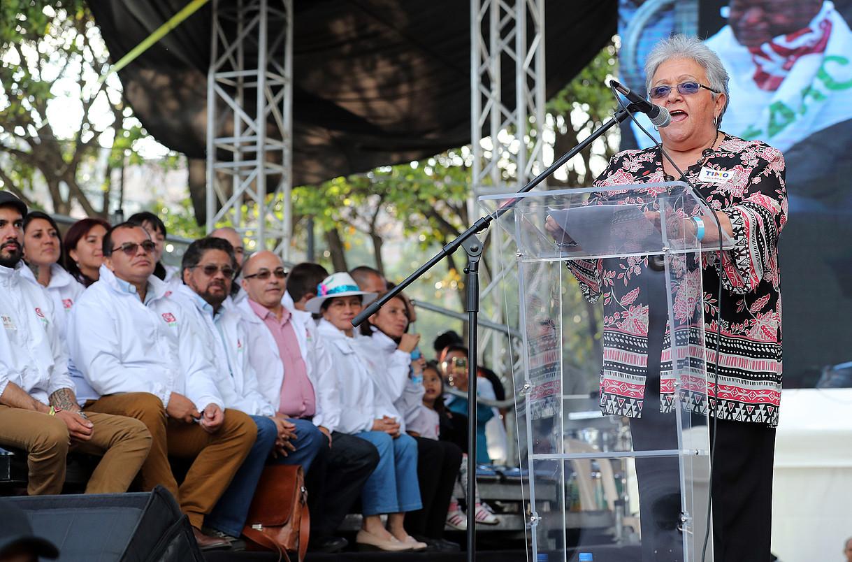 Imelda Daza FARCeko presidenteordegaia eta gainerako hautagaiak, Bogotan, asteburuan. ©MAURICIO DUEÑAS / EFE