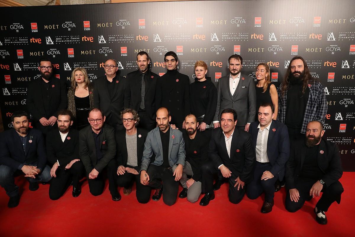 <em>Handia</em> filmeko lantaldeko kideak, Madrilen, Goya sarien izendatuen festan, orain bi aste.