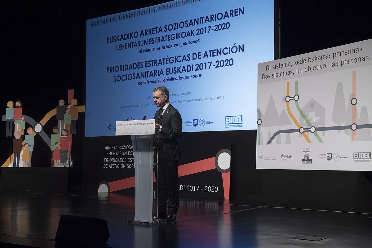 Iñigo Urkullu, atzo, estrategien aurkezpenean. ©GORKA RUBIO / ARGAZKI PRESS