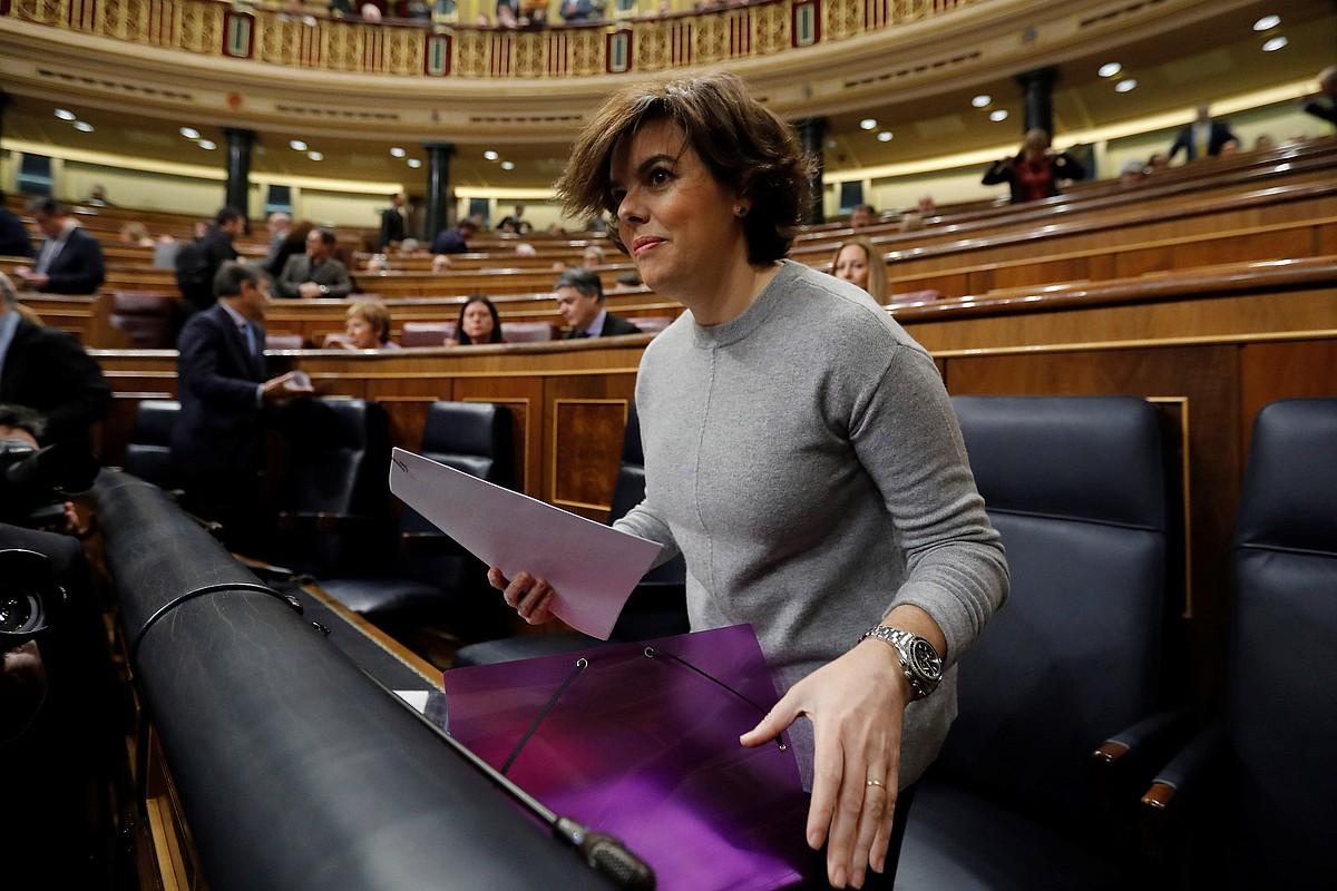 Soraya Saenz de Santamaria Espainiako presidenteordea, atzo. ©J. C. HIDALGO / EFE