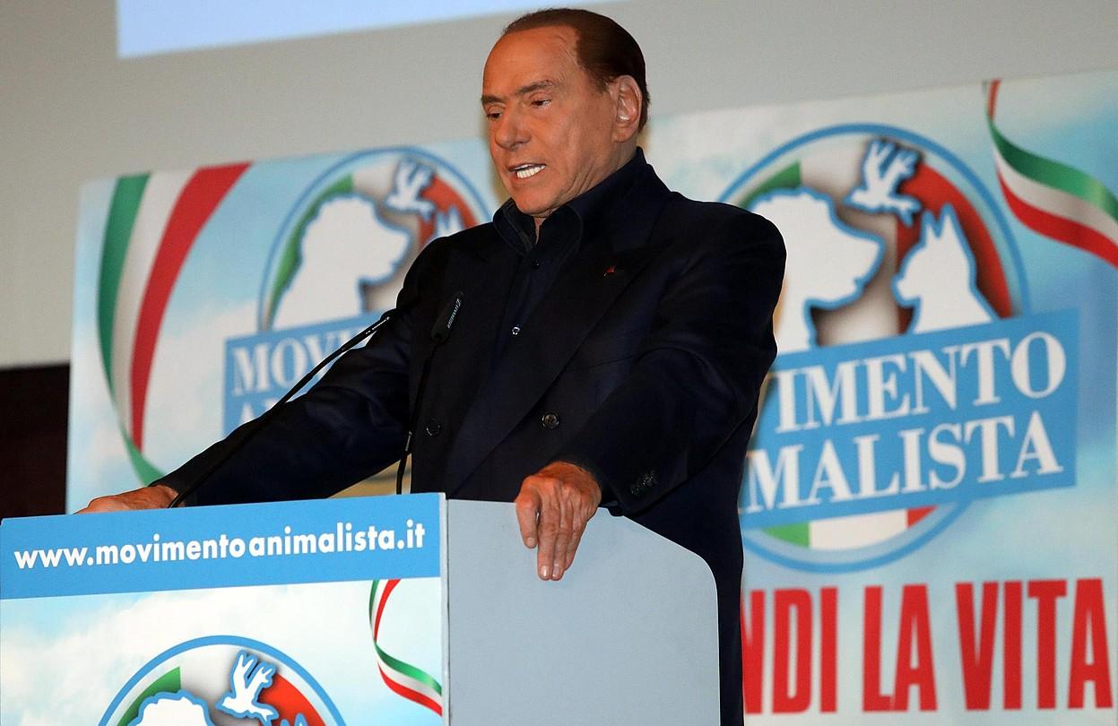 Silvio Berlusconi, kanpainako ekitaldi batean, Milanen. ©MATTEO BAZZI / EFE