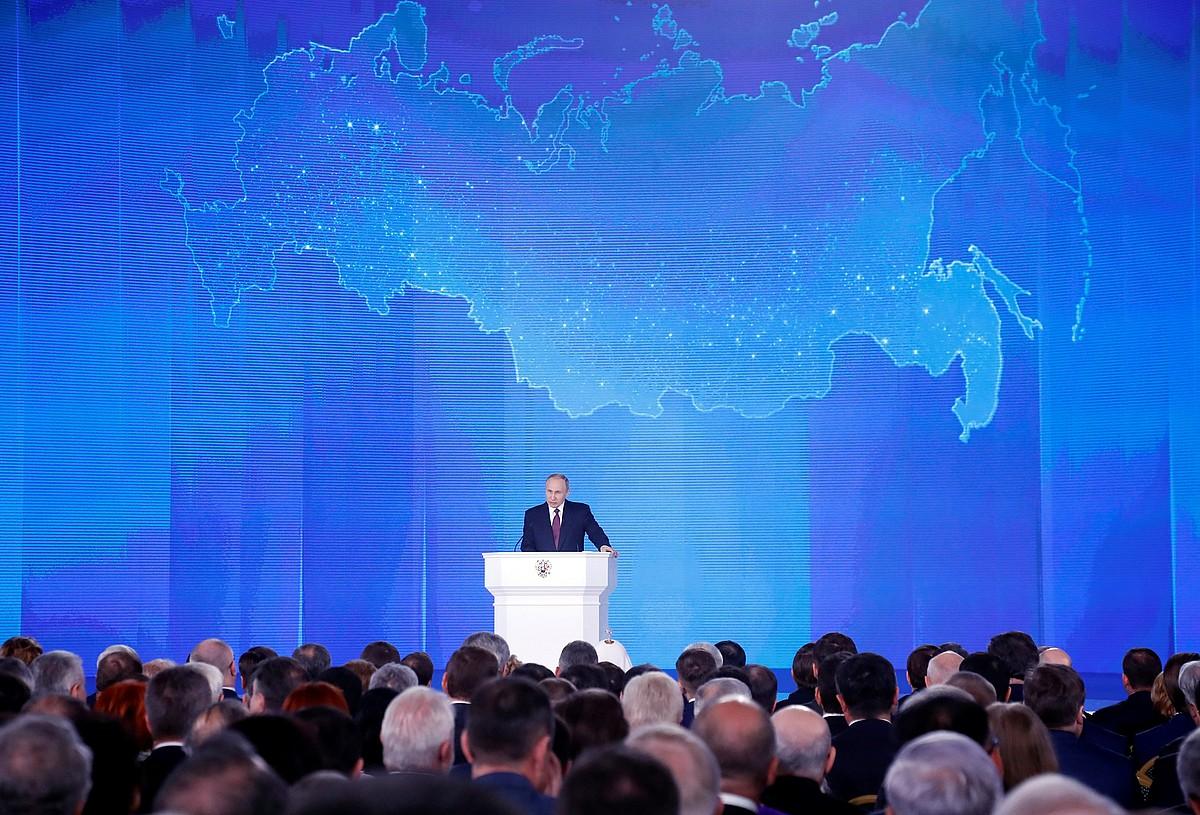 Vladimir Putin Errusiako presidentea, atzo, nazioaren egoeraren inguruko hitzaldian, Moskun.