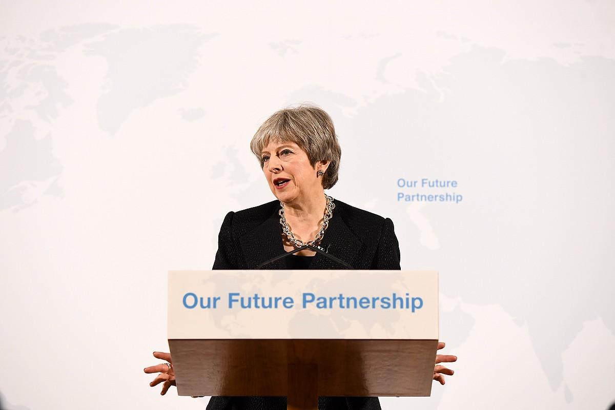 Theresa May lehen ministroa <em>brexit</em>-eko planaren berri ematen, atzo, Londresen. &copy;CHRIS J. RATCLIFFE / POOL / EFE