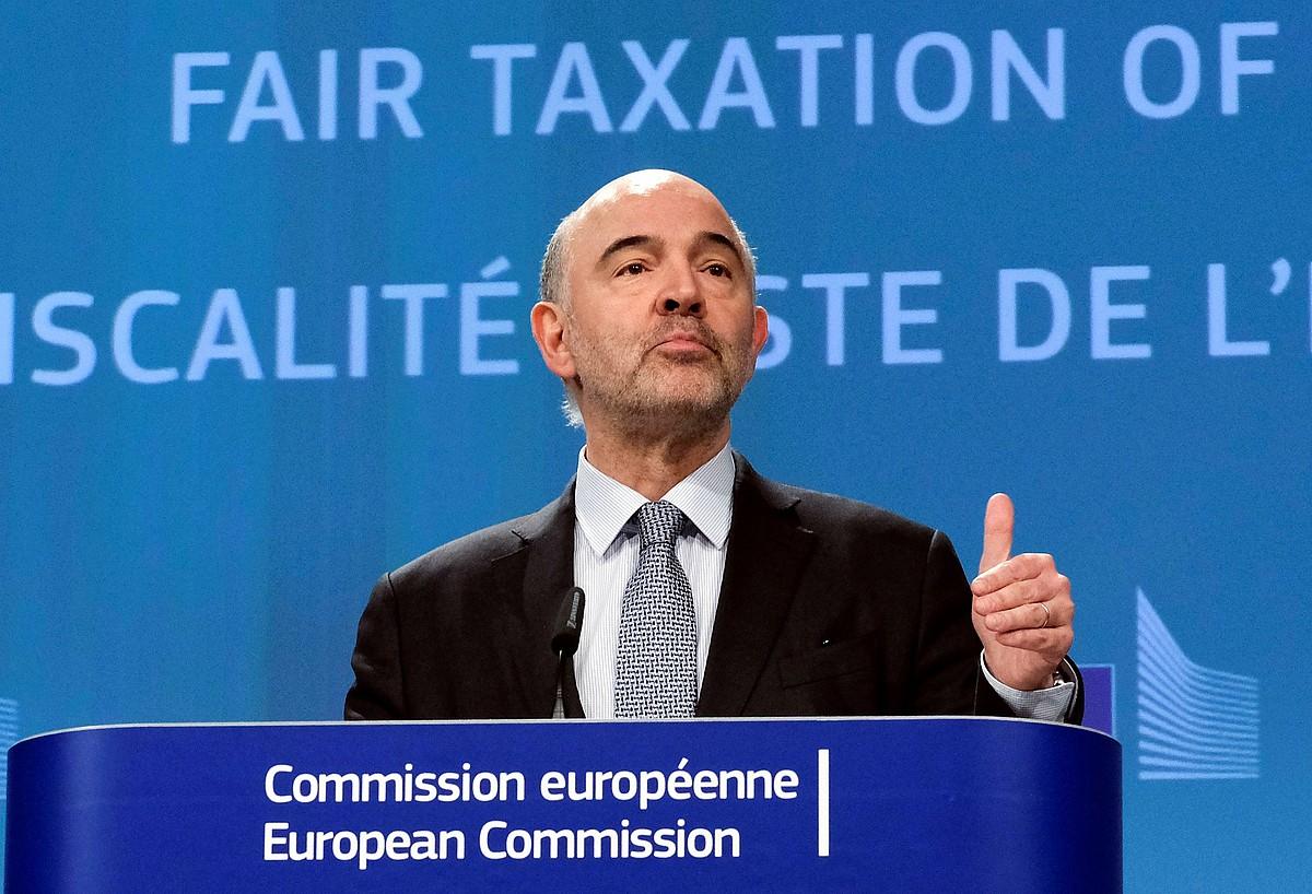 Pierre Moscovici Finantza eta Ekonomia Gaietarako komisarioa, atzo, tasa digitala aurkezten. ©OLIVIER HOSLET / EFE