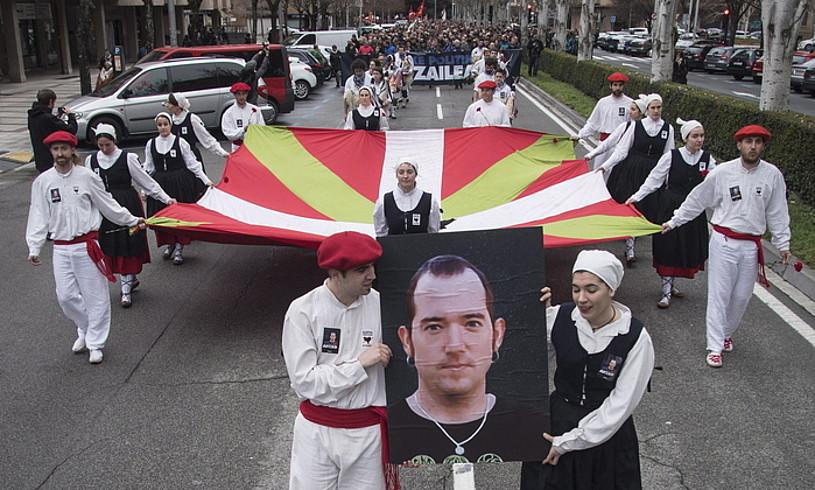 Xabier Rey Urmeneta oroitzeko Iruñean egindako manifestazioa. / JON URBE / FOKU