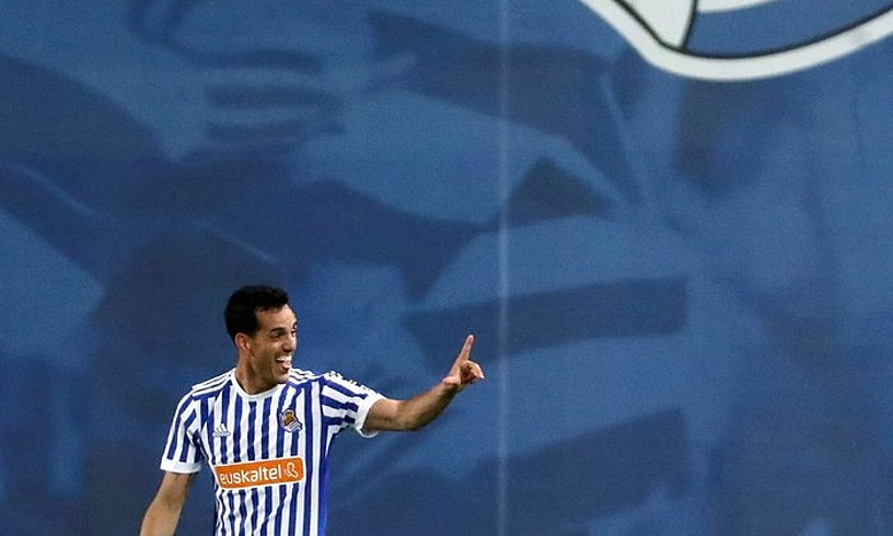 Juanmi, Realaren bigarren gola ospatzen, haren lehena. ©JAVIER ETXEZARRETA / EFE