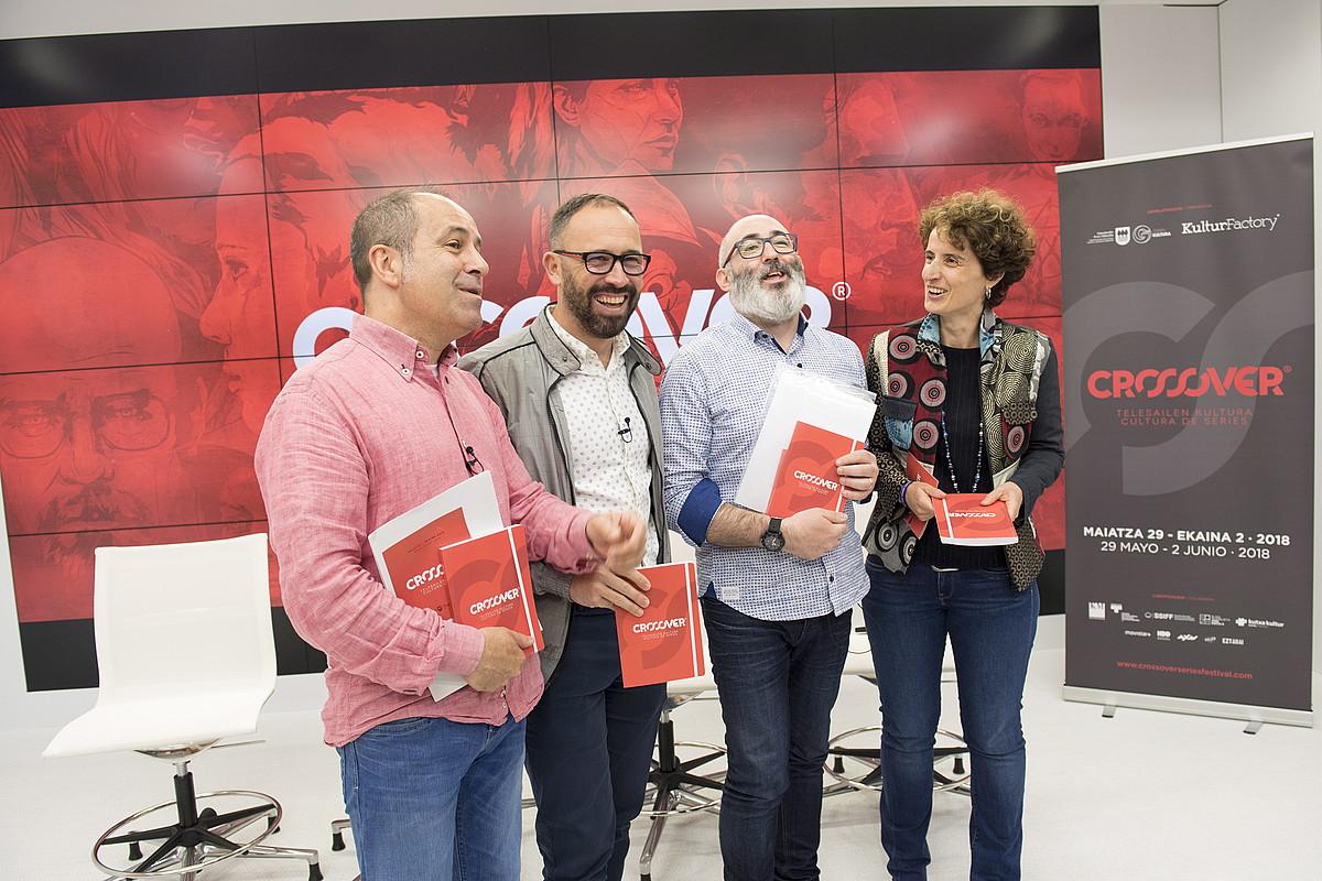 Patxi Presa, Denis Itxaso, Jon Paul Arroyo eta Maria Jose Telleria, atzo, jaialdiaren aurkezpenean. ©JUAN CARLOS RUIZ / FOKU