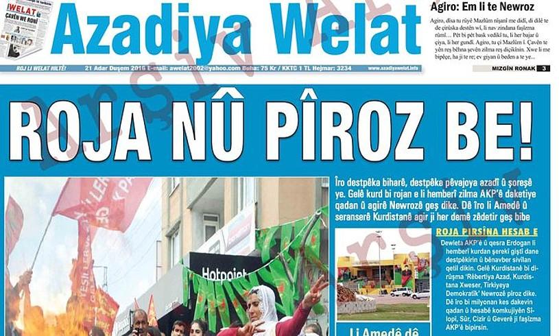 <em>Azadiya Welat</em> egunkari kurduaren azal bat. / AZADIYA WELAT