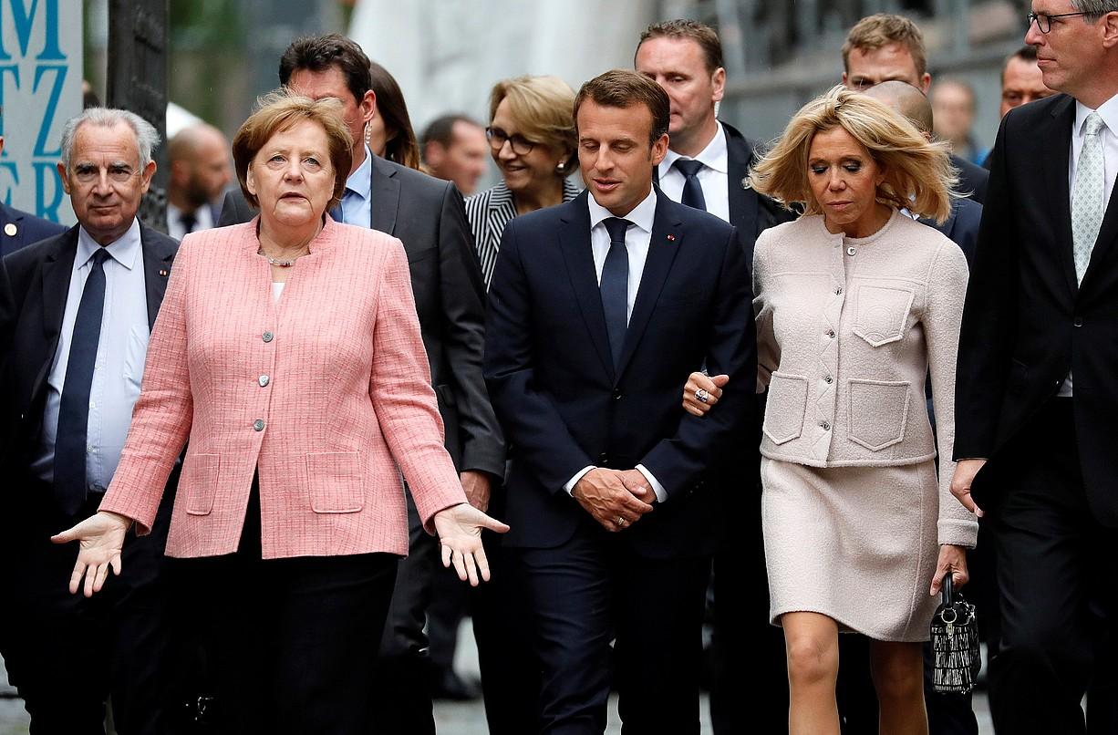 Angela Merkel eta Emmanuel Macron, Akisgranen (Alemania), joan den astean.