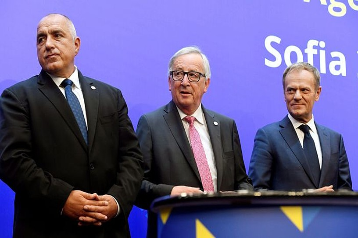 Borissov, Juncker eta Tusk, atzoko agerraldian, Sofian.