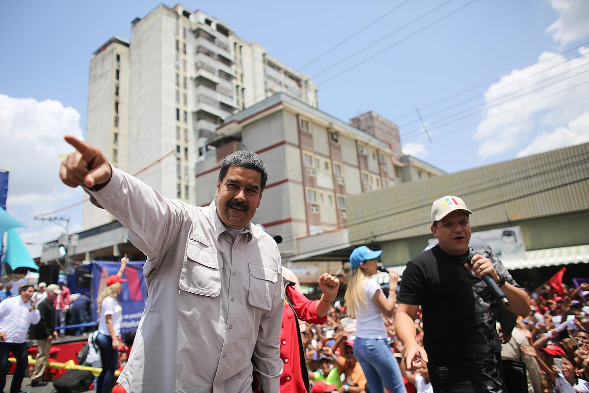 Nicolas Maduro, asteartean, kanpainako ekitaldi batean, Charallaven. ©MIRAFLORES / EFE