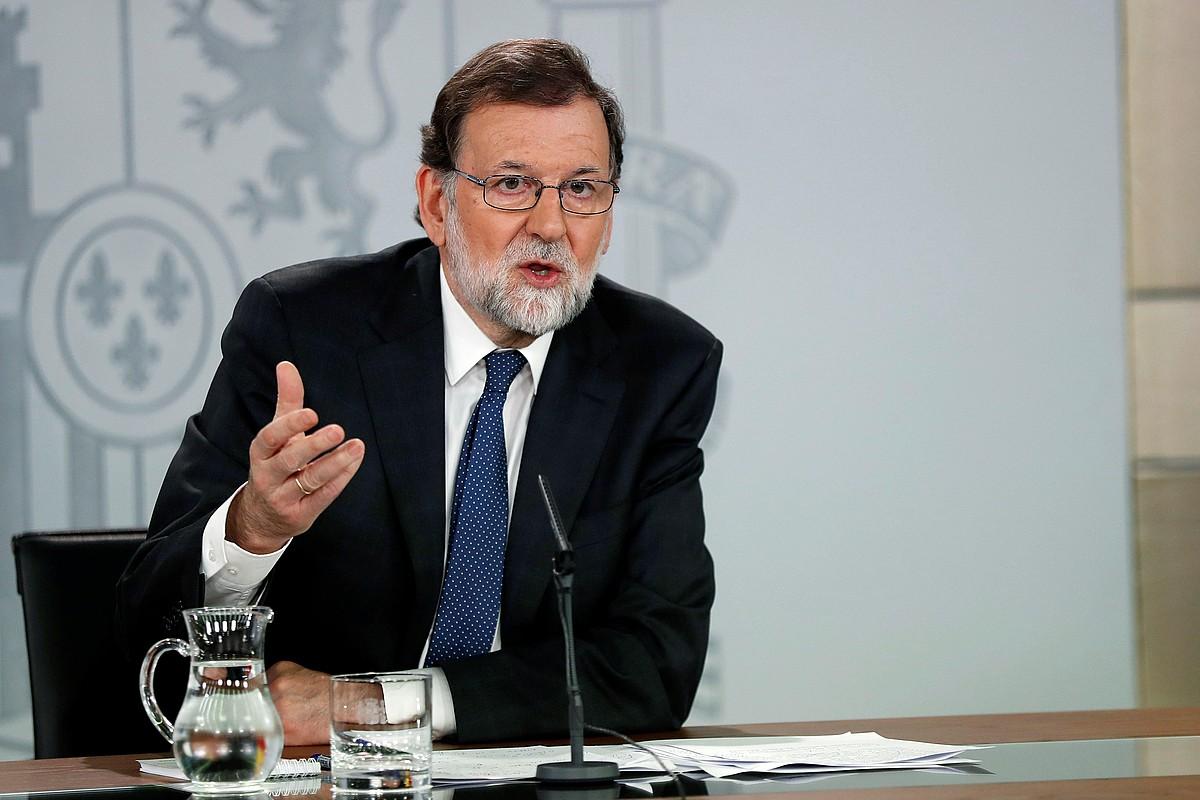 Mariano Rajoy Espainiako Gobernuko presidentea, atzo, PSOEk aurkeztutako zentsura mozioari buruzko balorazioa egiteko agerraldian. ©CHEMA MOYA / EFE