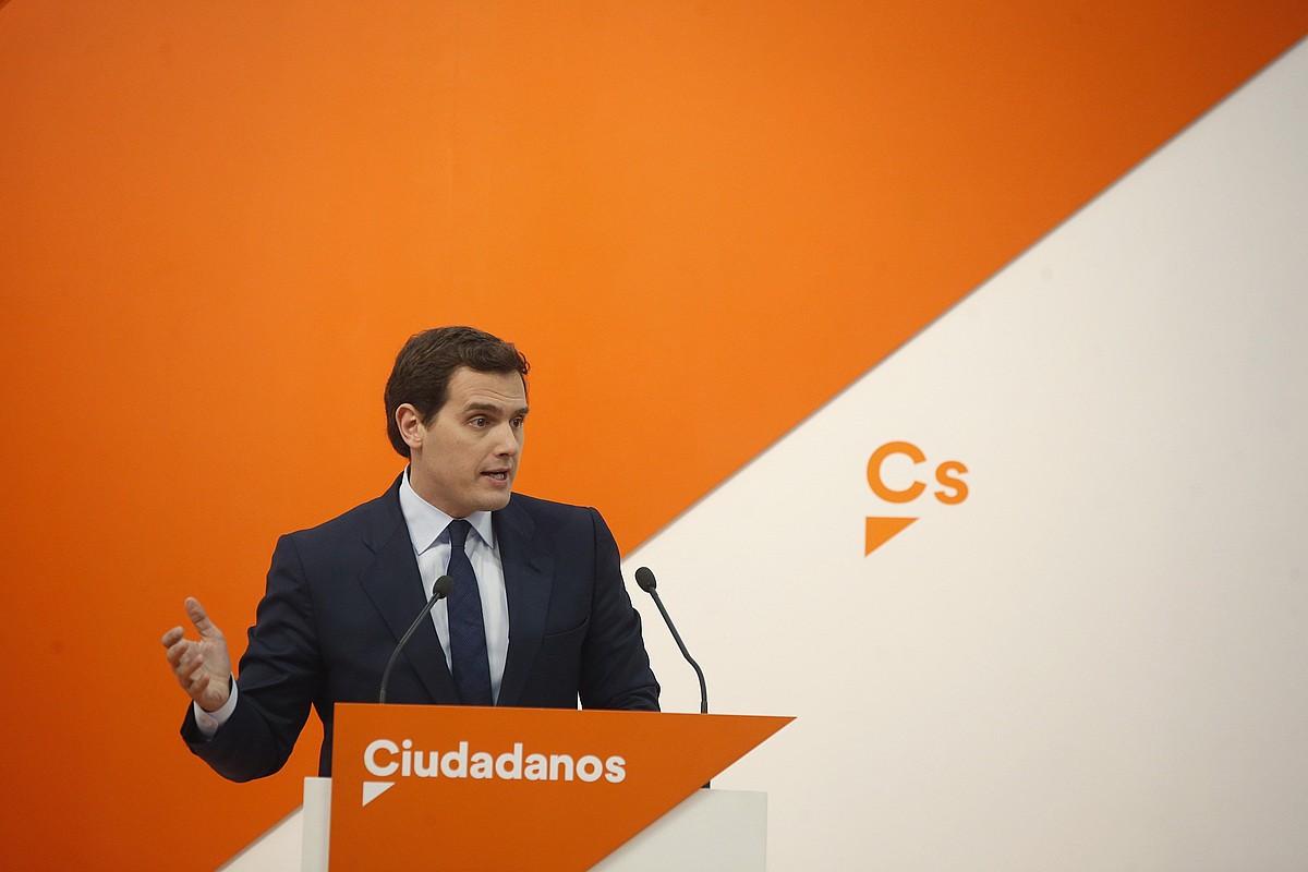 Albert Rivera, atzo, Ciudadanosen zuzendaritza batzartu ostean. ©JAVIER LIZON / EFE