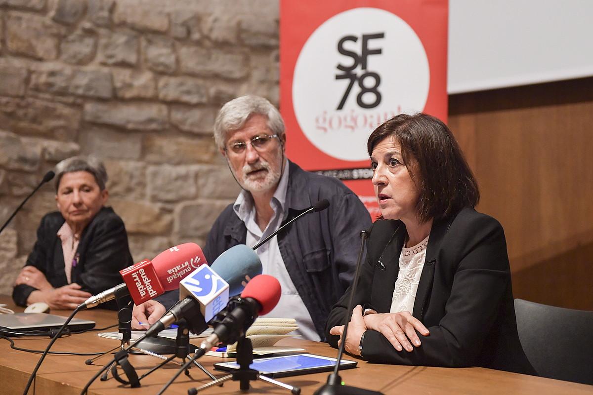 Josu Txueka eta Izaskun Bilbao, atzo, Iruñeko Kondestablen. ©IDOIA ZABALETA / FOKU