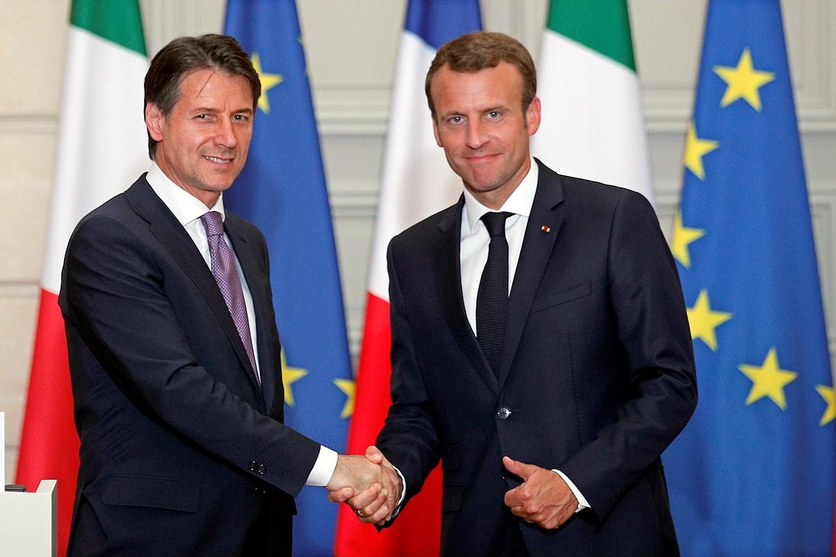 Emmanuel Macron eta Giuseppe Conte, Parisen eginiko bileraren ostean, atzo.