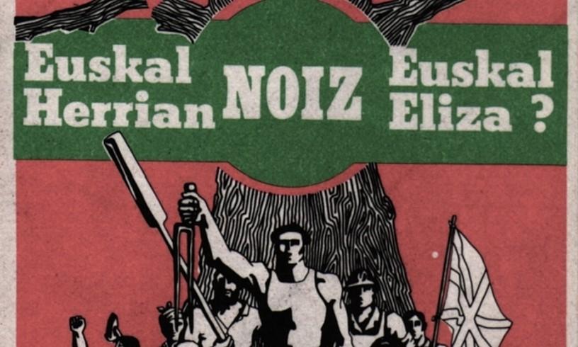 Euskal Eliza herrikoiaren aldeko afixa, 1970eko hamarkadakoa; kristau elkarte herritarrak egon ziren <em>Herria 2000 Eliza</em> aldizkariaren jatorrian.