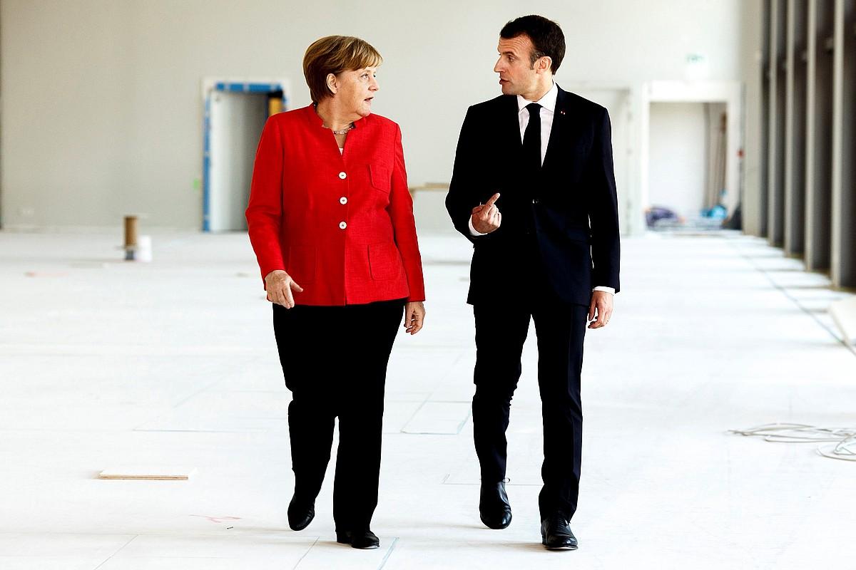 Angela Merkel Alemaniako kantzilerra eta Emmanuel Macron Frantziako presidentea, Berlinen egindako bilera batean. ©CARSTEN KOALL / EFE