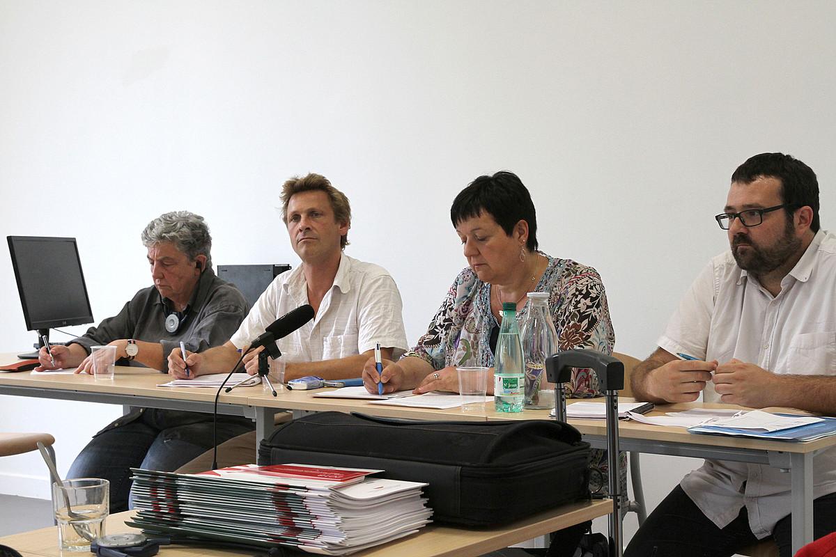 Martine Bisauta, Philippe Arretz, Pantxika Maitia eta Eñaut Aramendi, atzo, Baionan eginiko ikastaroan. ©AURORE LUCAS