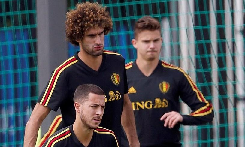 Eden Hazard, Marouane Fellaini eta Leander Dendoncker atzoko entrenamenduan. ©ALBERTO ESTEVEZ / EFE