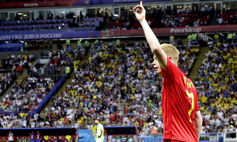De Bruyne Belgikakoa, atzoko partidan sartu zuen gola ospatzen. ©WALLACE WOON / EFE