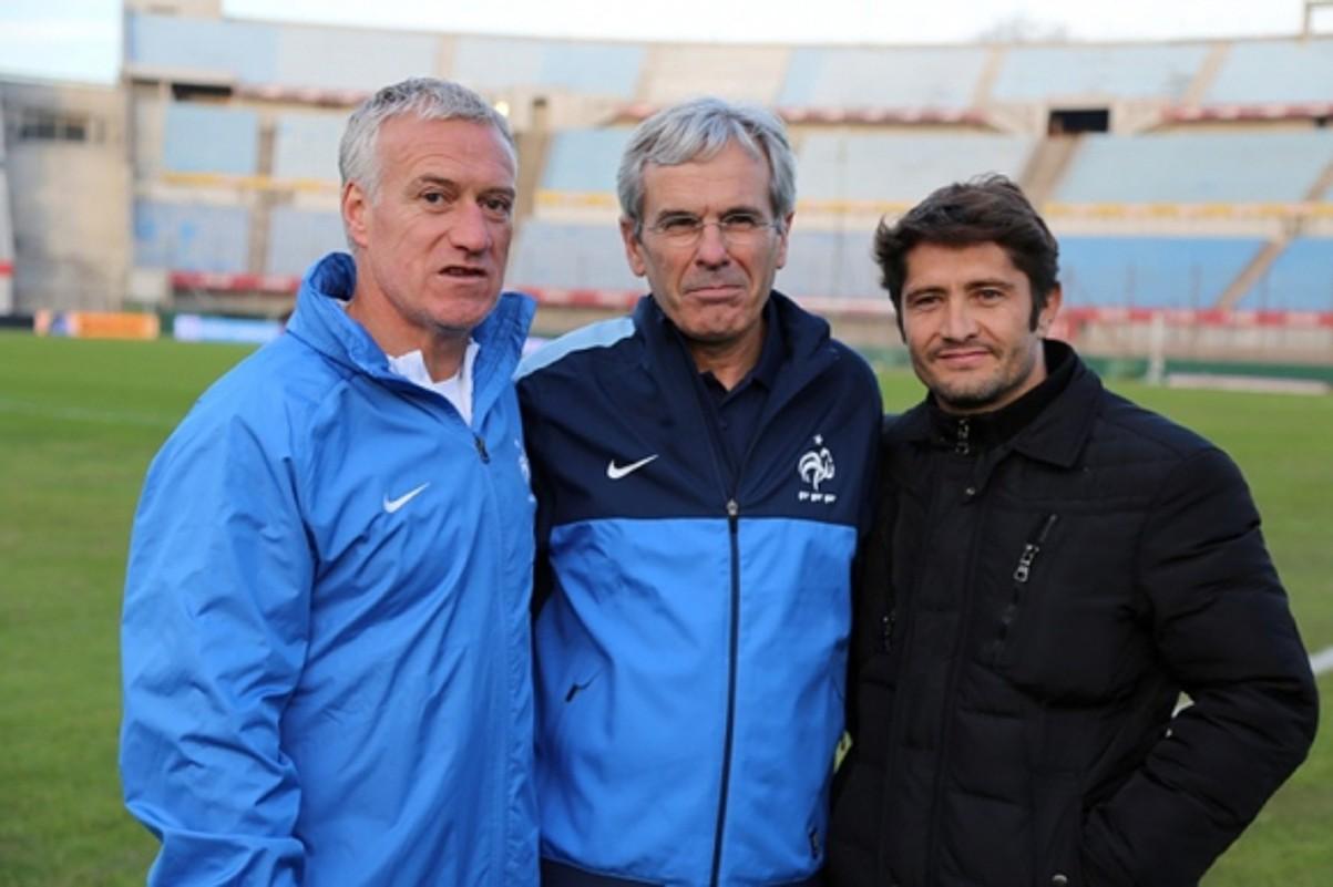Didier Deschamps, Peio Sarratia eta Bixente Lizarazu, Frantziak 2013an Uruguain jokatu zuenean.