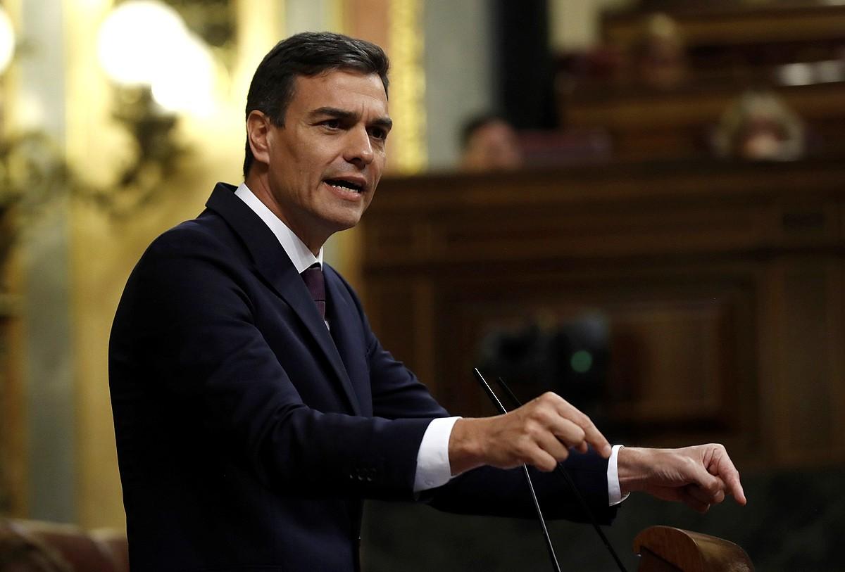 Pedro Sanchez, Espainiako Diputatuen Kongresuan, atzo. ©KIKO HUESCA / EFE