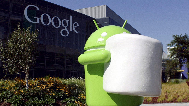 Android sistema eragilearen ikonoa Googleren Mountain Viewko egoitzaren aurrean (AEB), 2015eko udan. ©EFE