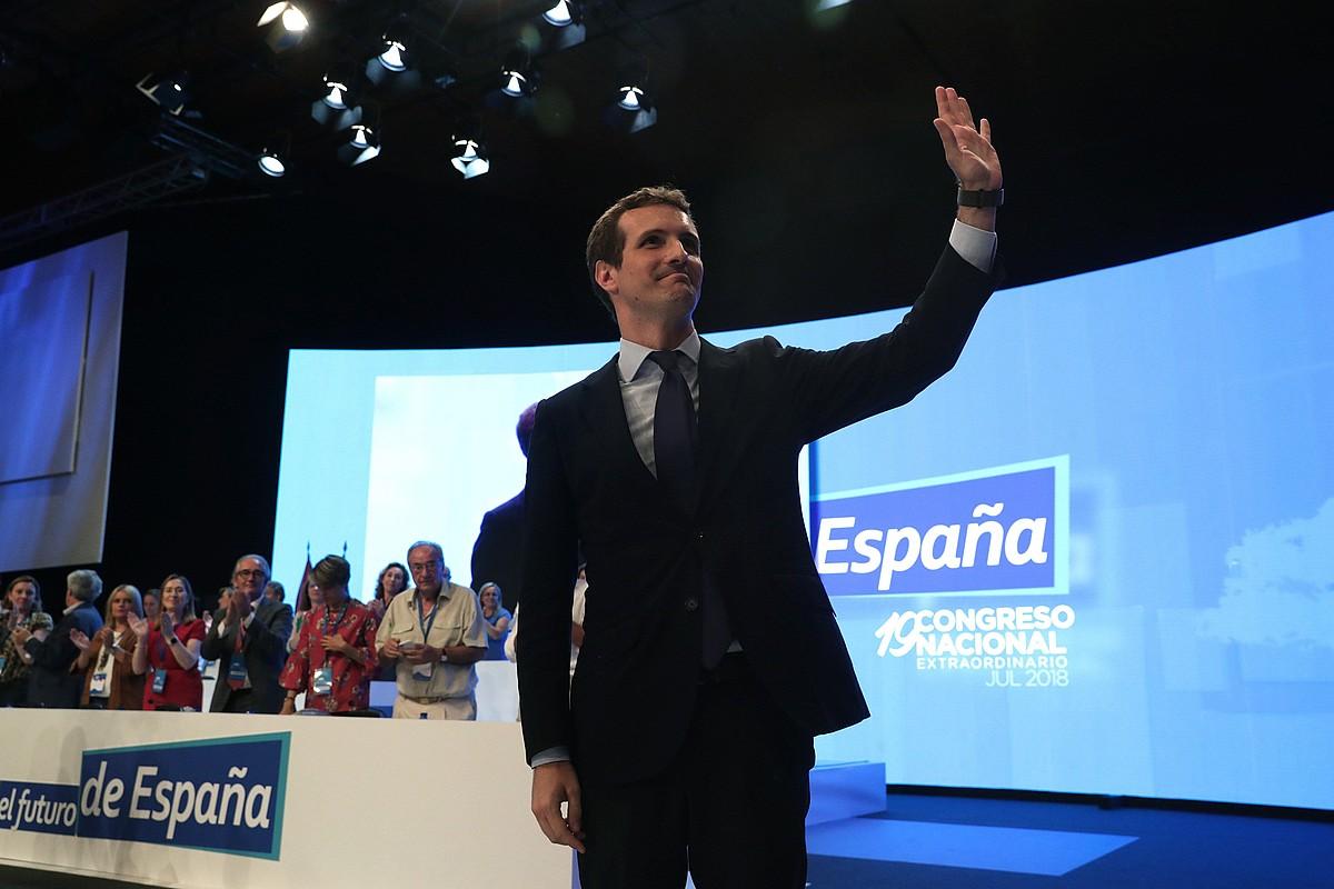 Pablo Casado, atzo, PPko presidente izendatu berritan, alderdiak Madrilen egin duen 19. ezohiko kongresuan. ©ZIPI / EFE