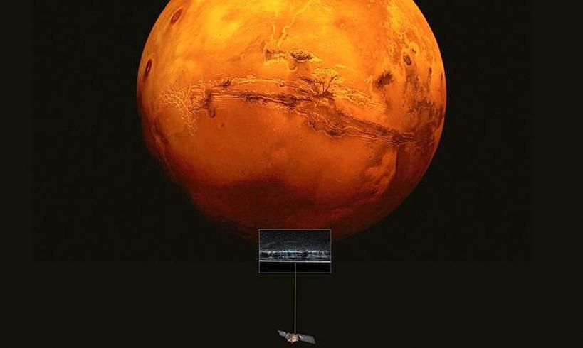 <em>Mars Express</em> zundaren eta Marteren erreprodukzio artistikoa.
