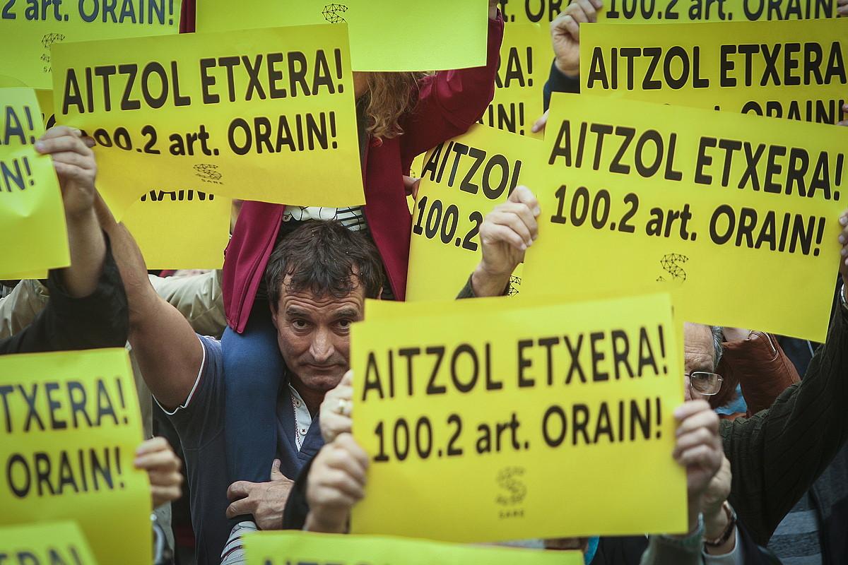 Aitzol Gogorza preso eriaren aldeko ekinbide bat, iaz, Errenterian. / G. RUBIO / FOKU