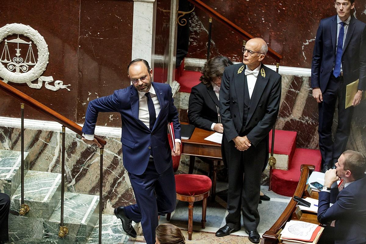 Edouard Philippe Frantziako lehen ministroa Asanblean, atzo, bere gobernua defendatzeko hitzaldia eman ostean.