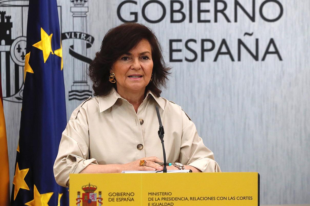 Carmen Calvo presidenteordea, aste honetako agerraldi batean. ©F. ALVARADO / EFE