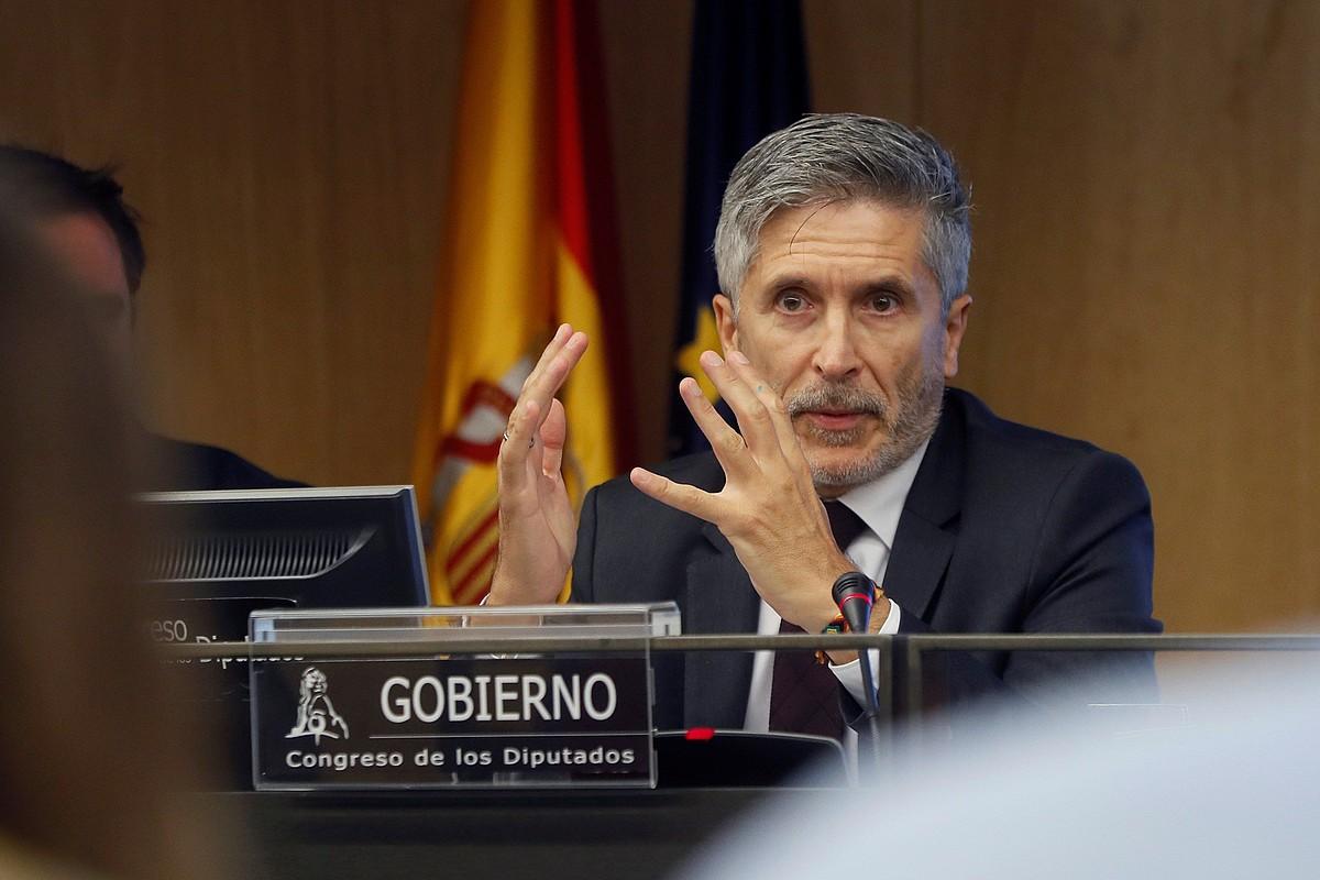 Fernando Grande-Marlaska, atzo, Espainiako Kongresuan. ©FERNANDO ALVARADO / EFE