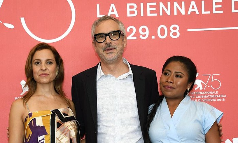 Marina de Tavira, Alfonso Cuaron eta Yalitza Aparicio, atzo. ©CLAUDIO ONORATI / EFEIA