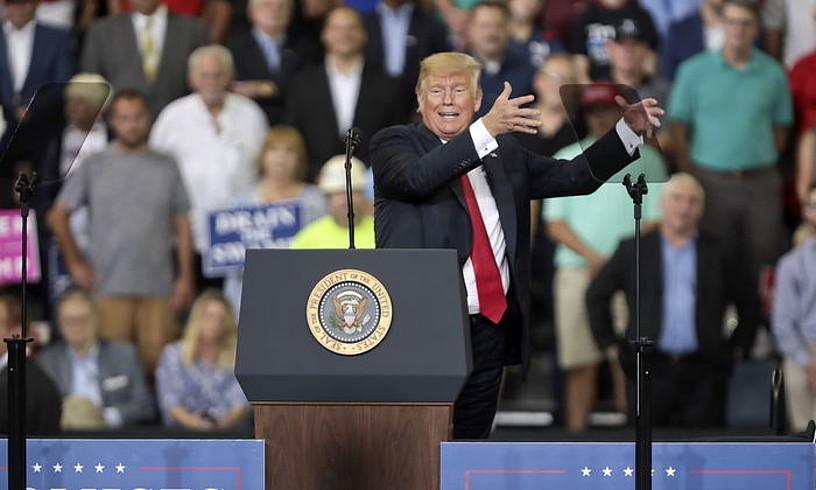 AEBetako presidentea mitin batean, herenegun, Indianan. ©MARK LYONS / EFE