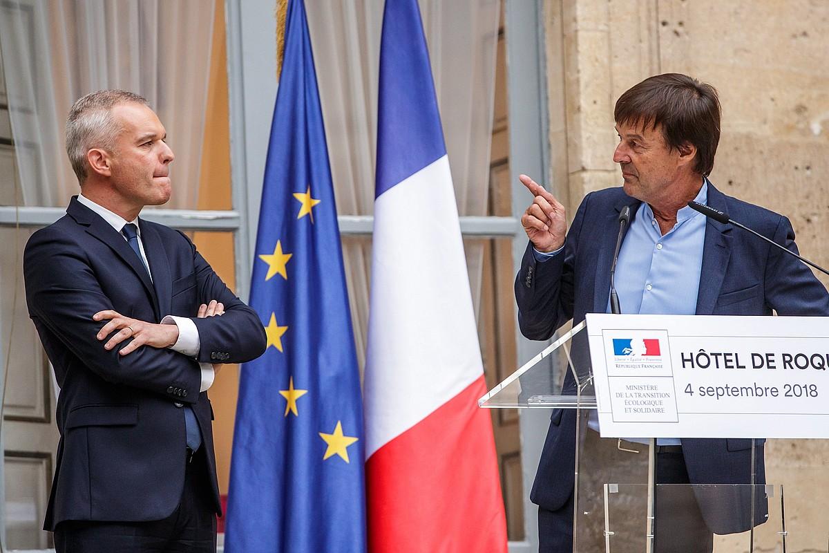 François de Rugy Trantsizio Ekologikorako ministro izendatu berria eta Nicolas Hulot kargu horretan zegoena, atzo, Parisen.