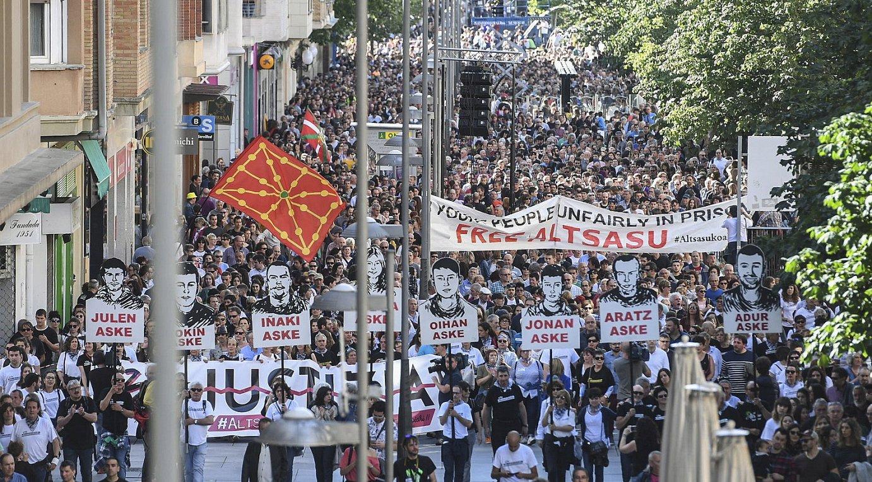 Joan den uztailean Iruñean Altsasuko auziaz izandako manifestazioa.
