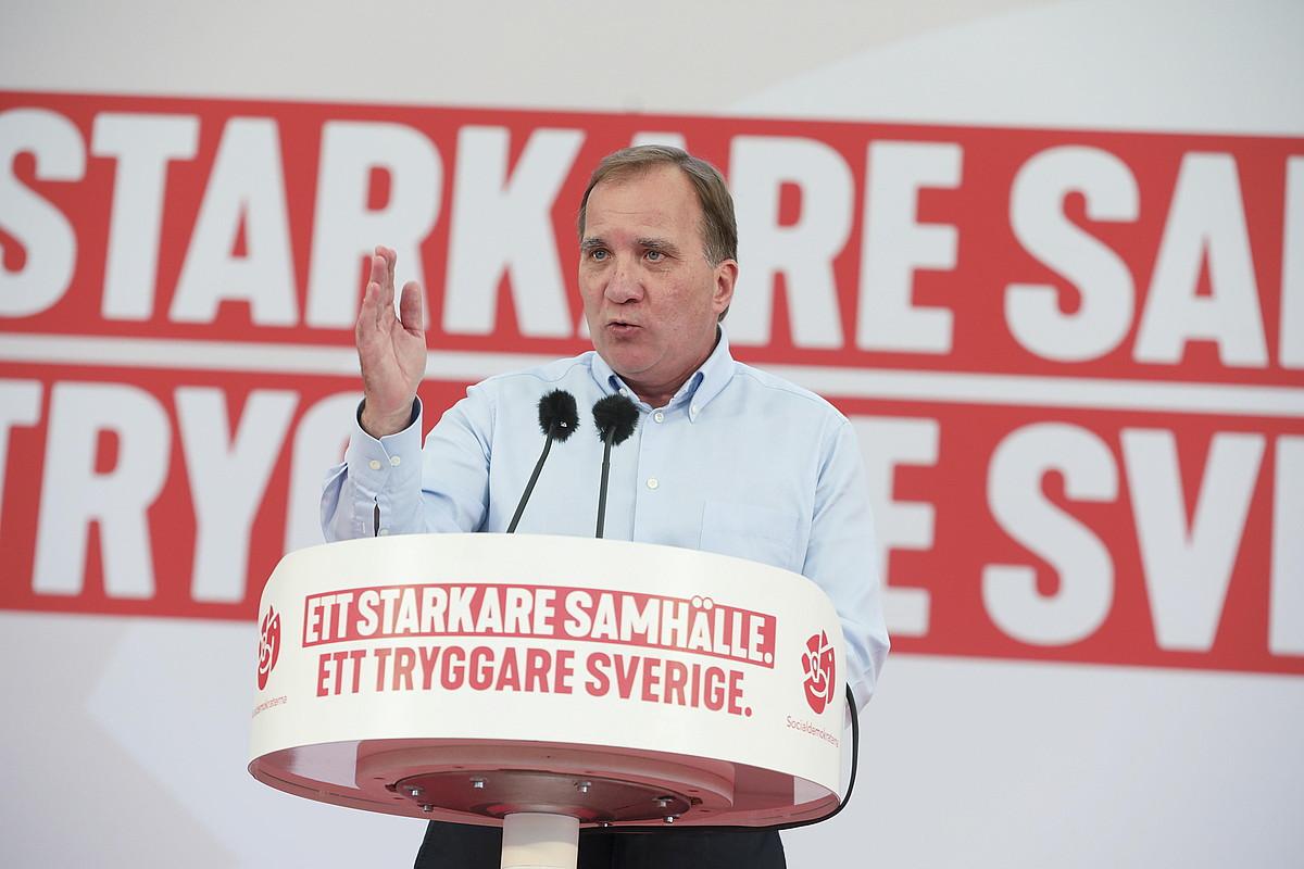 Stefan Lofven Suediako lehen ministro sozialdemokrata, kanpaina ekitaldi batean, Stockholmen. ©SORE ANDERSSON / EFE