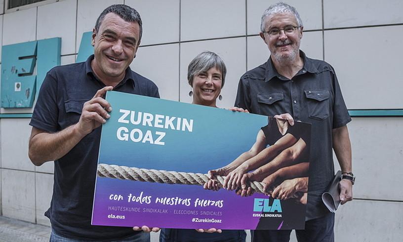 Joseba Villarreal, Amaia Muñoa eta Adolfo Muñoz, atzo, sindikatuaren Bilboko egoitza parean. ©ARITZ LOIOLA / FOKU