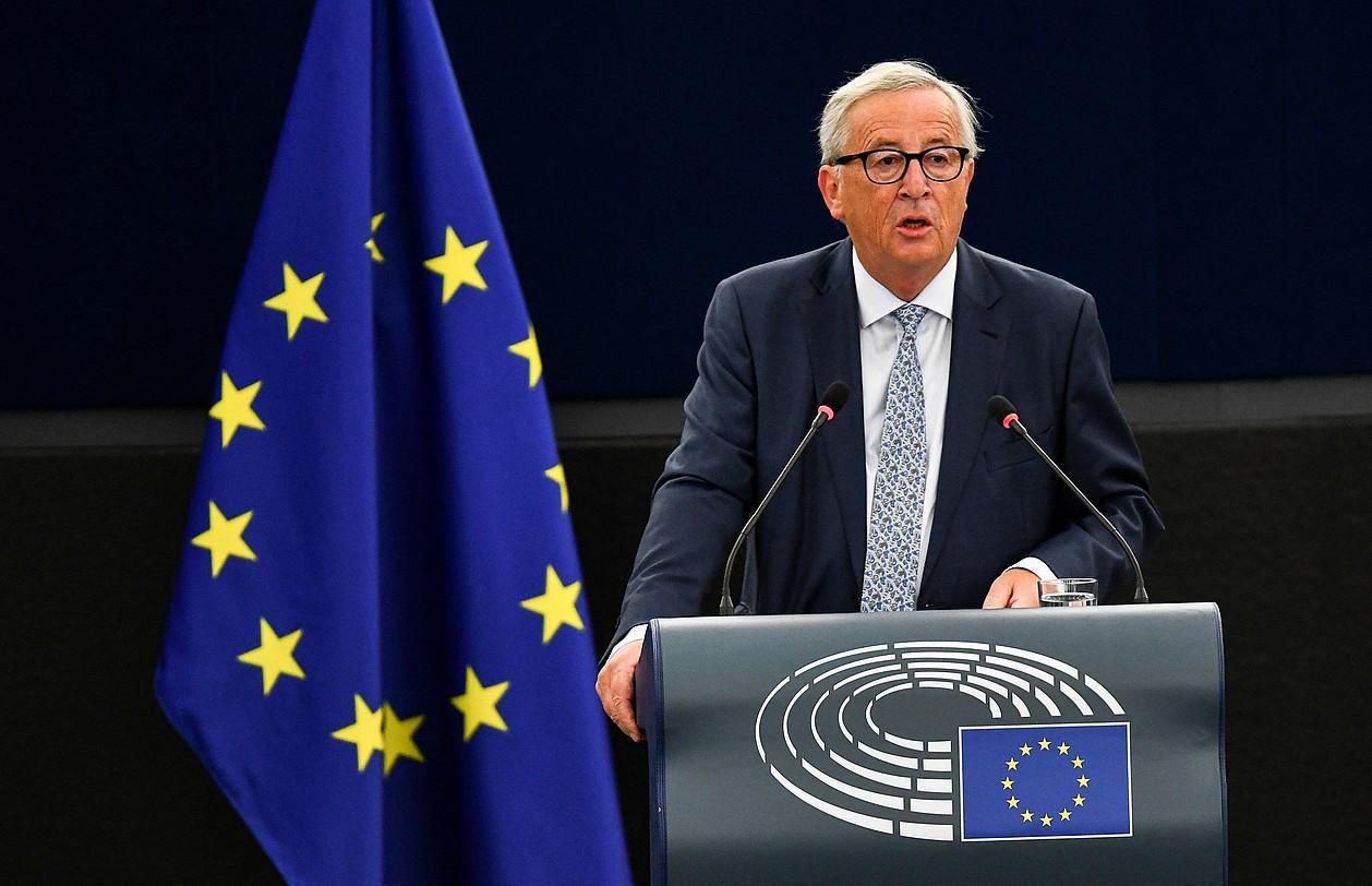Jean-Claude Juncker Europako Batzordeko presidentea, batasunaren egoerari buruzko hitzaldia ematen, atzo, Europako Parlamentuan.