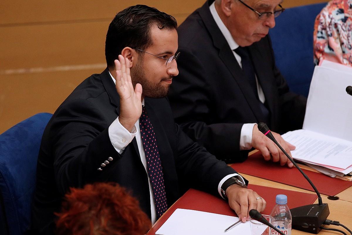 Alexandre Benalla, Emmanuel Macron Frantziako presidentearen kolaboratzaile ohia, atzo, Senatuan.