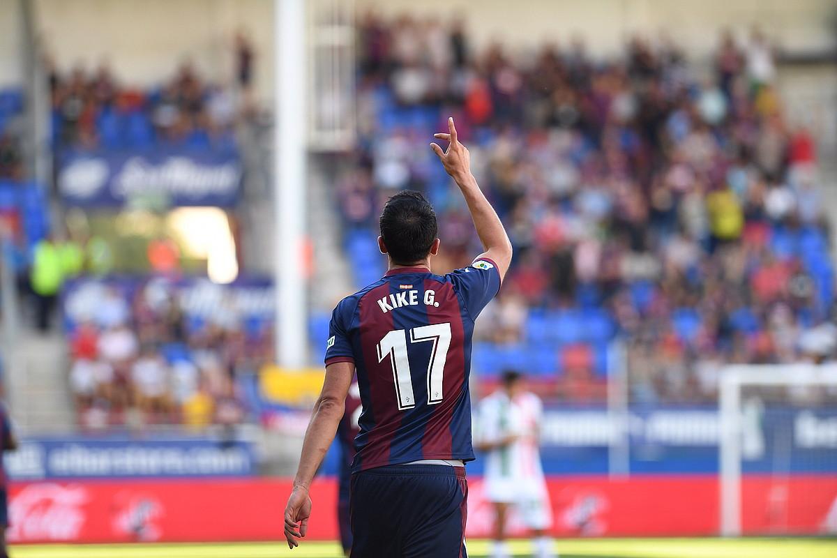 Kike Garciak sartu zuen atzo Eibarren gol bakarra. ©JON URBE / FOKU