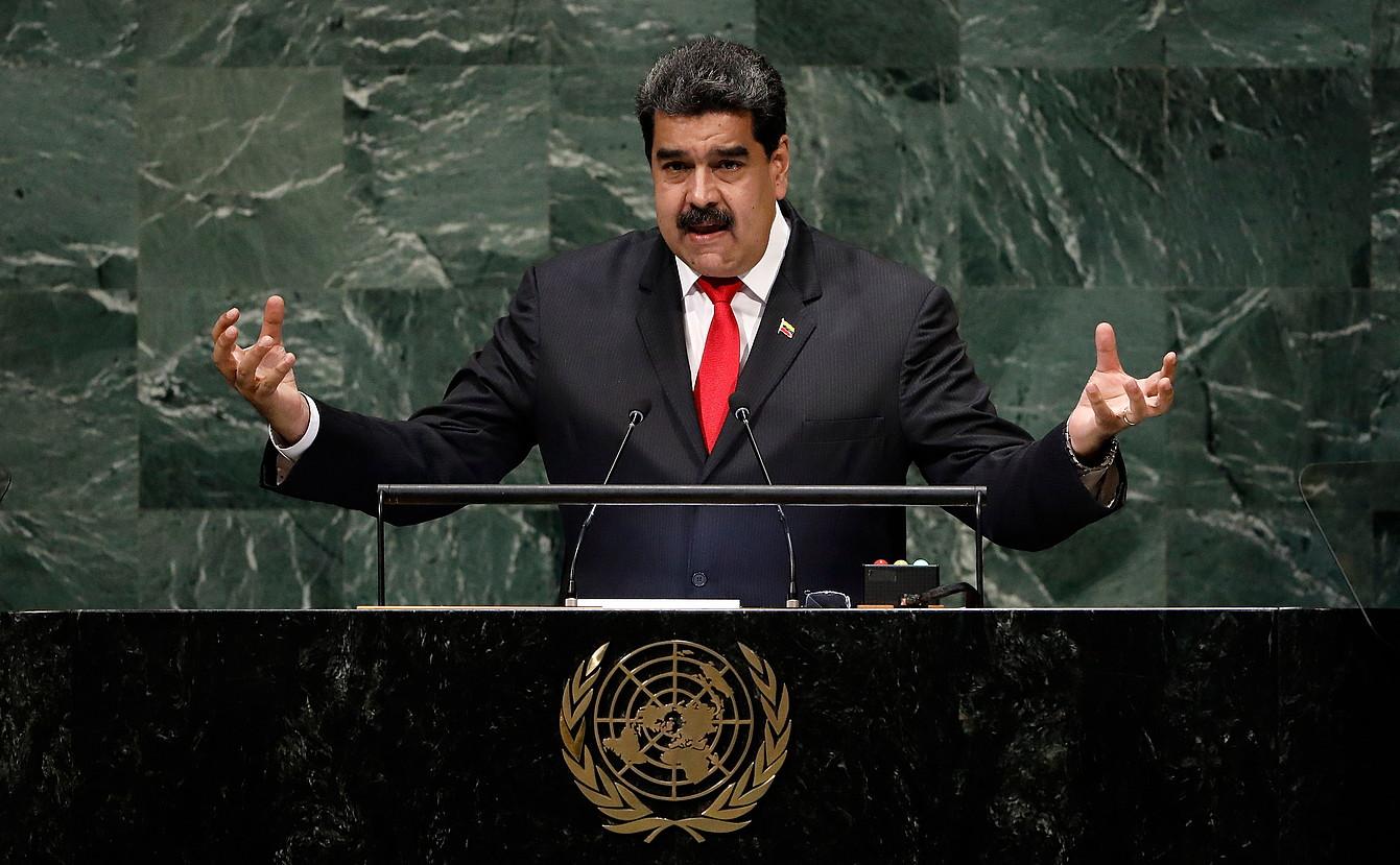 Nicolas Maduro Venezuelako presidentea Nazio Batuen Erakundearen Batzar Orokorrean hitz egiten, atzo goizaldean, New Yorken. ©PETER FOLEY / EFE