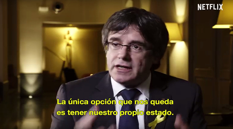 Carles Puigdemont, Netflix plataformaren <em>Dos Catalu&ntilde;as</em> dokumentaleko irudi batean. &copy;BERRIA