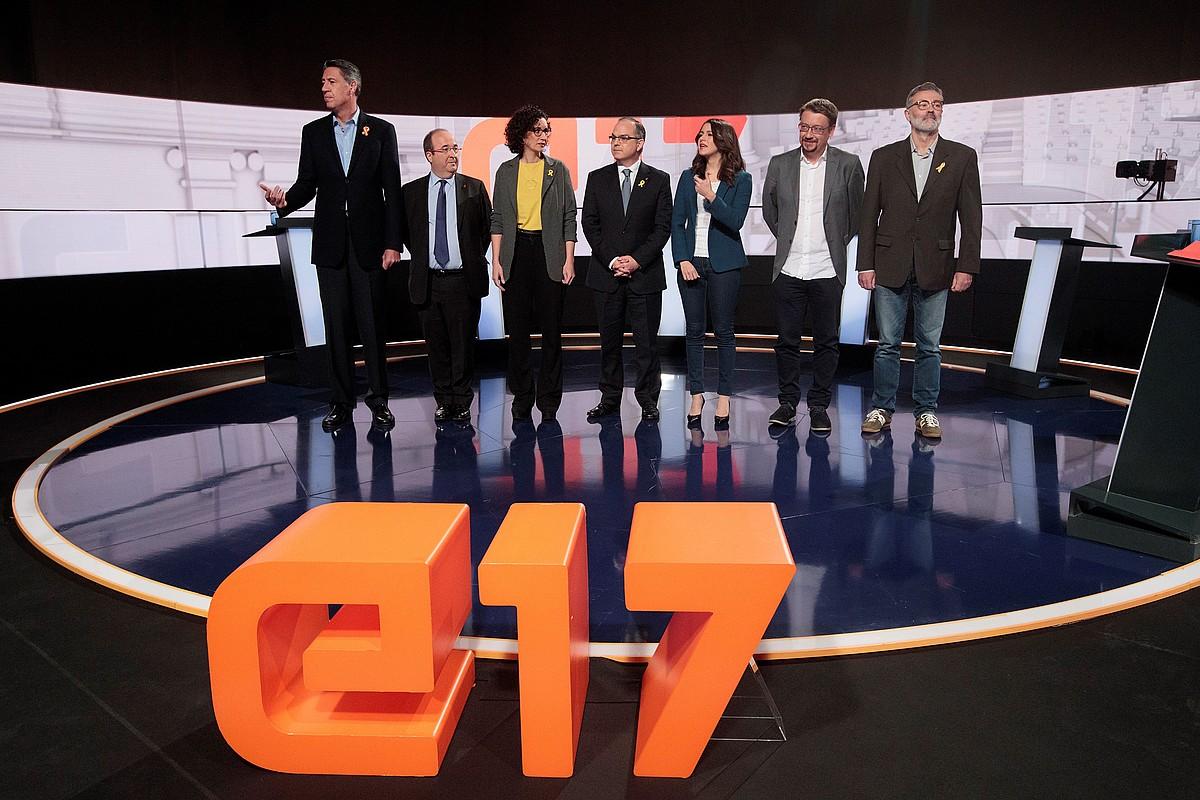 Kataluniako alderdi politiko nagusietako ordezkariak, TV3 katean, 2017ko kanpainako eztabaidan. ©MARTA PEREZ / EFE