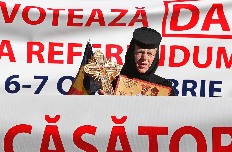 Moja bat, erreferendumaren aldeko mobilizazio batean. ©ROBERT GHEMENT / EFE