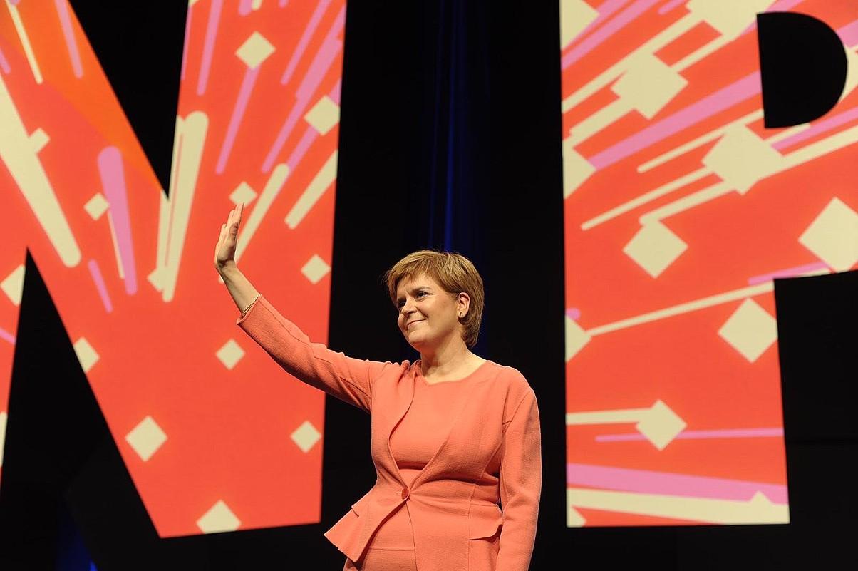 Nicola Sturgeon Eskoziako lehen ministroa, atzo, Edinburgon, SNPren Kongresuan.