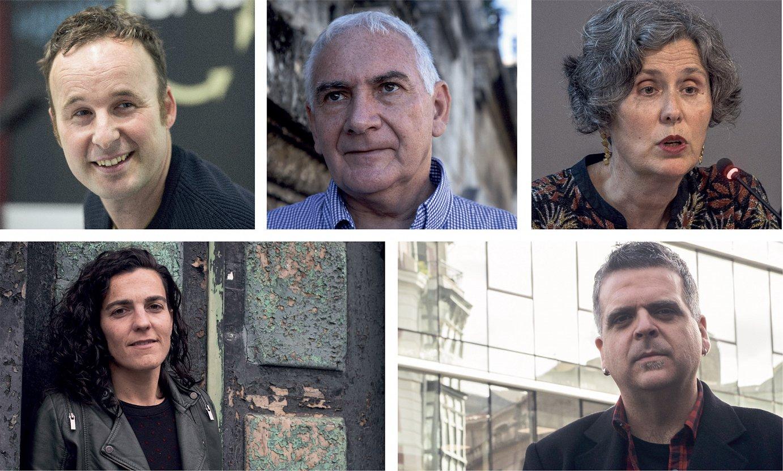 Ibai Iztueta, Joseba Sarrionandia, Mari Luz Esteban, Maialen Lujanbio eta Rafa Rueda.